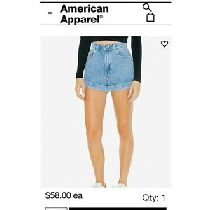 American Apparel Shorts - American Apparel High Waist Jean Shorts